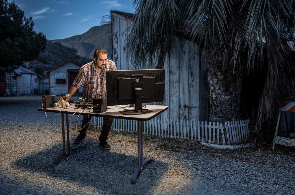 Ricardo G Turegano of Pixel Power Post captured editing at the abandoned Topanga Motel, Los Angeles