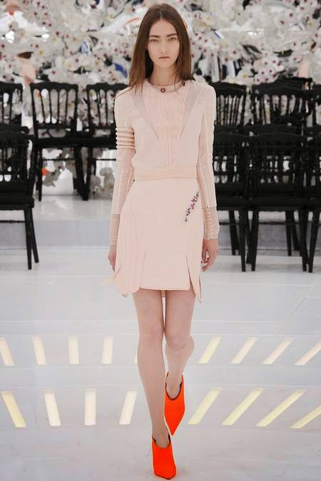 Christian Dior   - Pinky-nude=yes. The asymmetry in this look is kind of amazing.