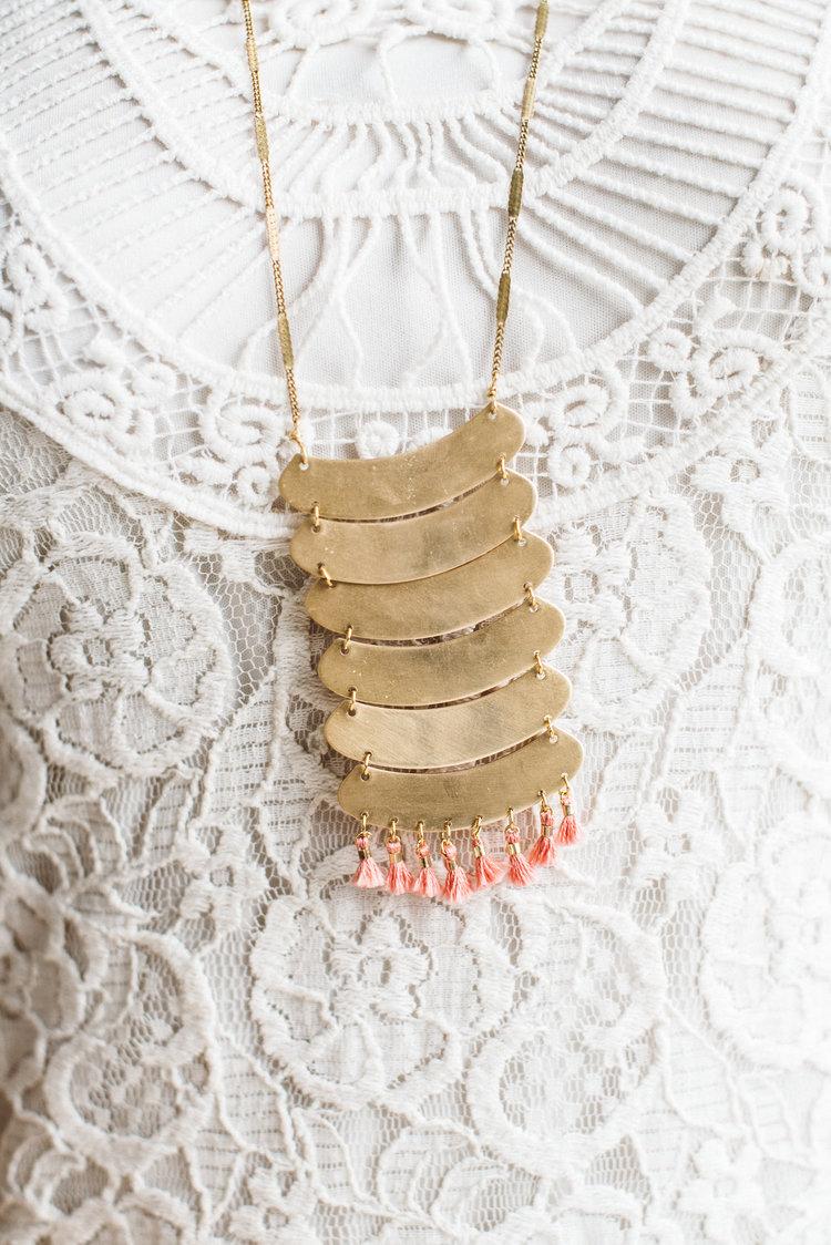 Colline || Brass & Tassel Statement Necklace - $68