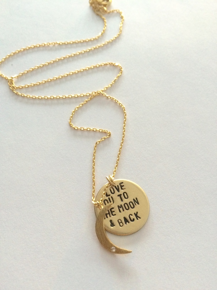 Love You to the Moon & Back Necklace in Gold - $46