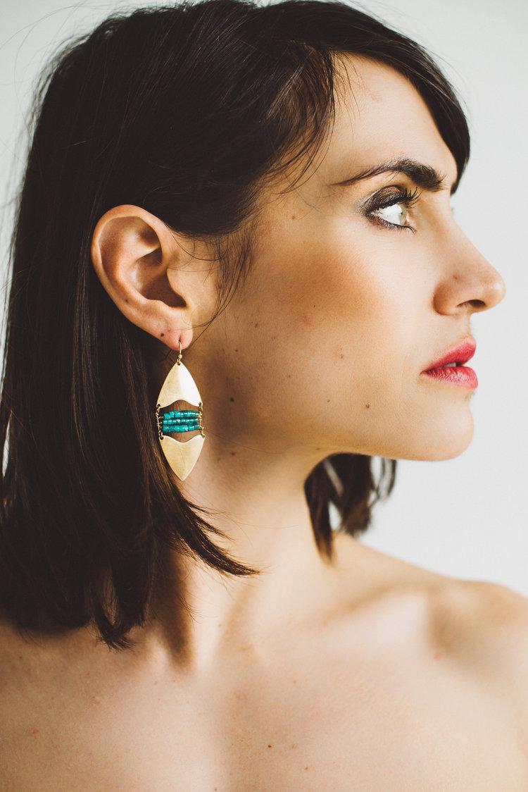 Salis || Turquoise Heishi Double Arrow Earrings - $44
