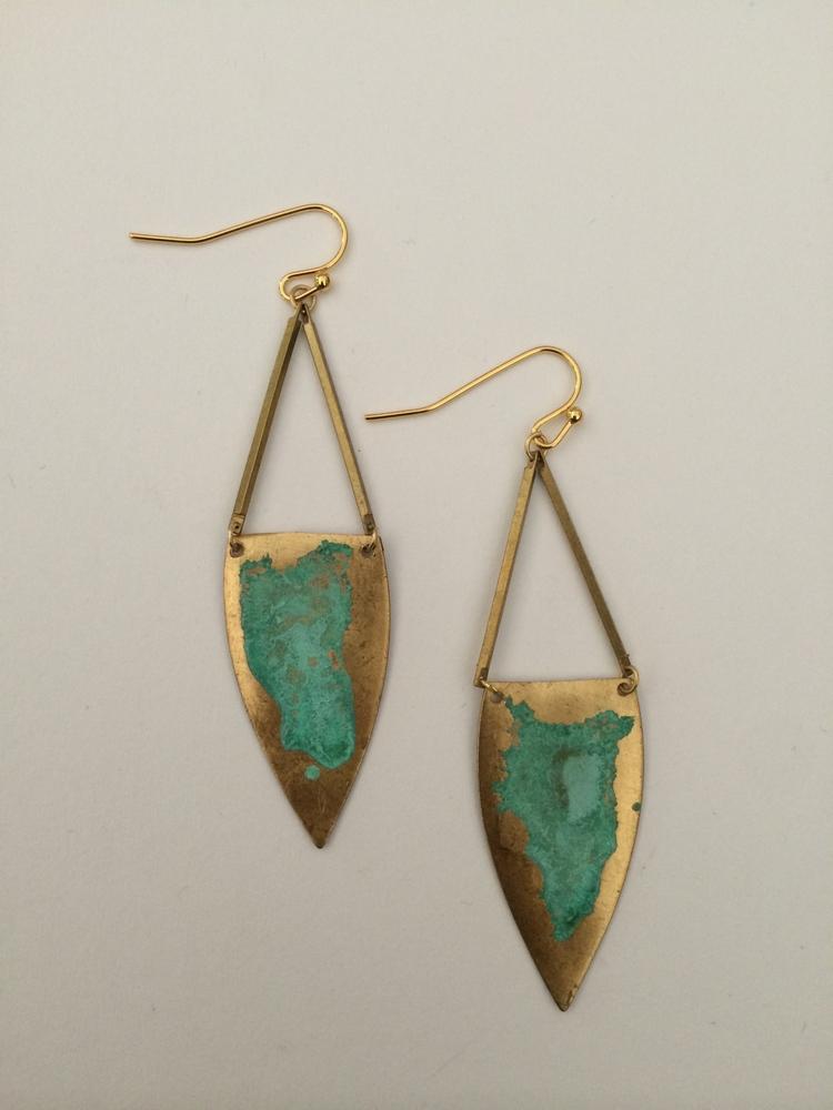 Verdigris Shield Earrings - $34
