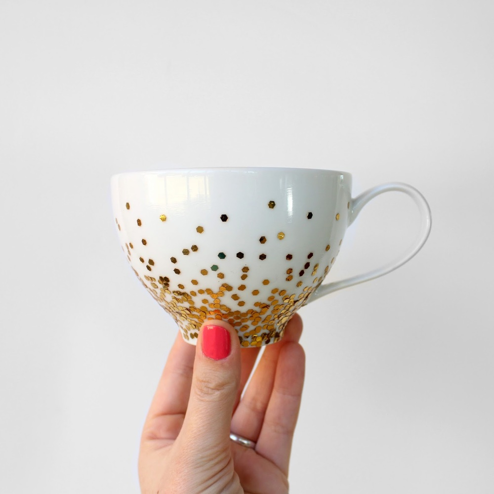 Gold Glitter Dipped Mug