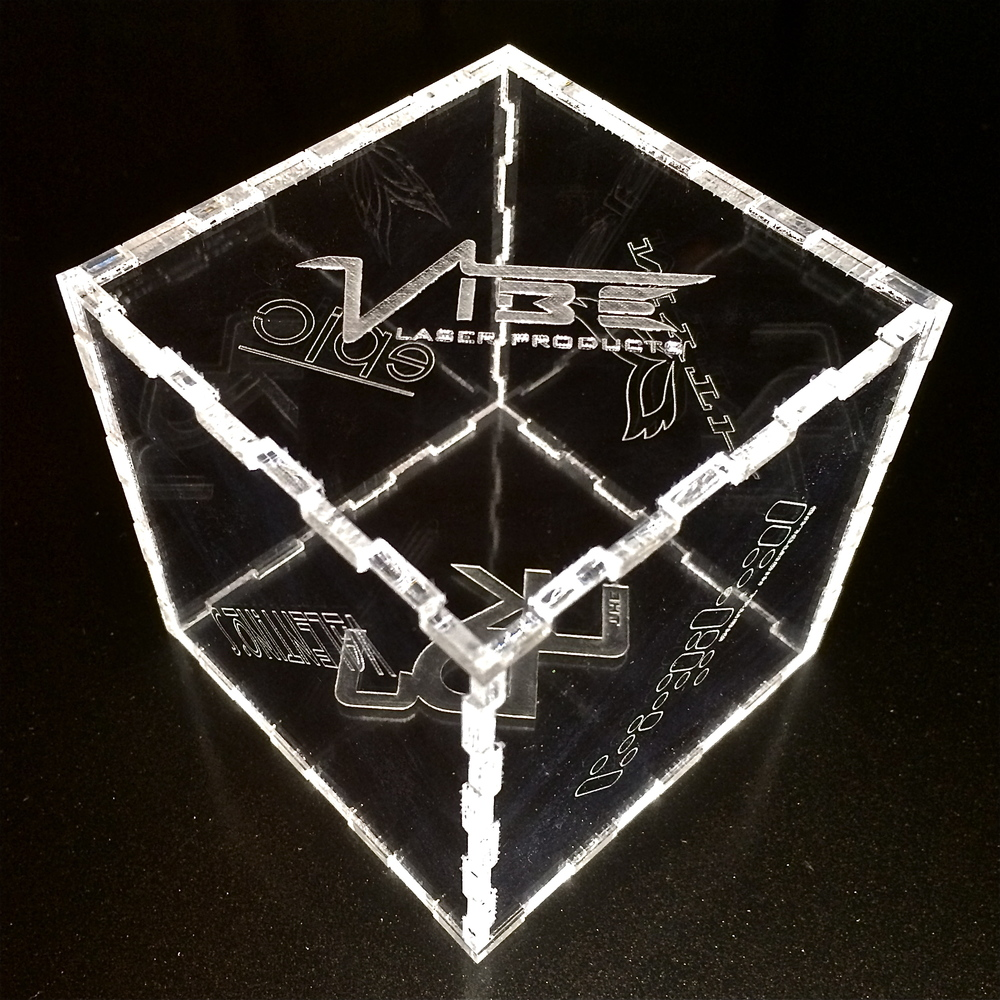 .187 Acrylic Puzzel Cube Etched With Custom Logos