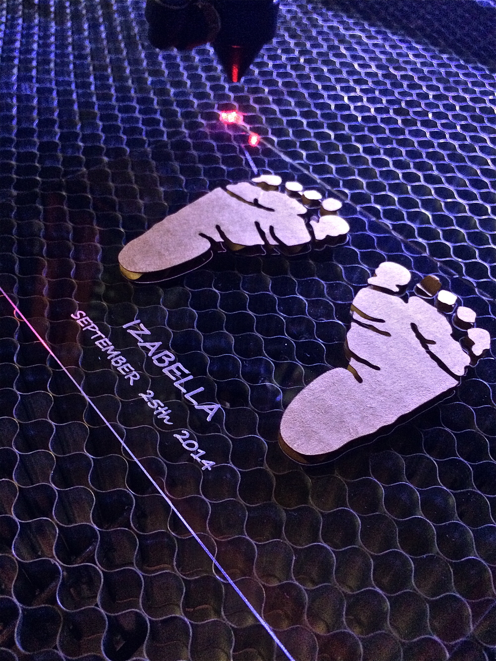 "6""x4"" Laser Cut & Etched Acrylic Sheet Inlay With Cardboard Baby Feet Cut & Glued"