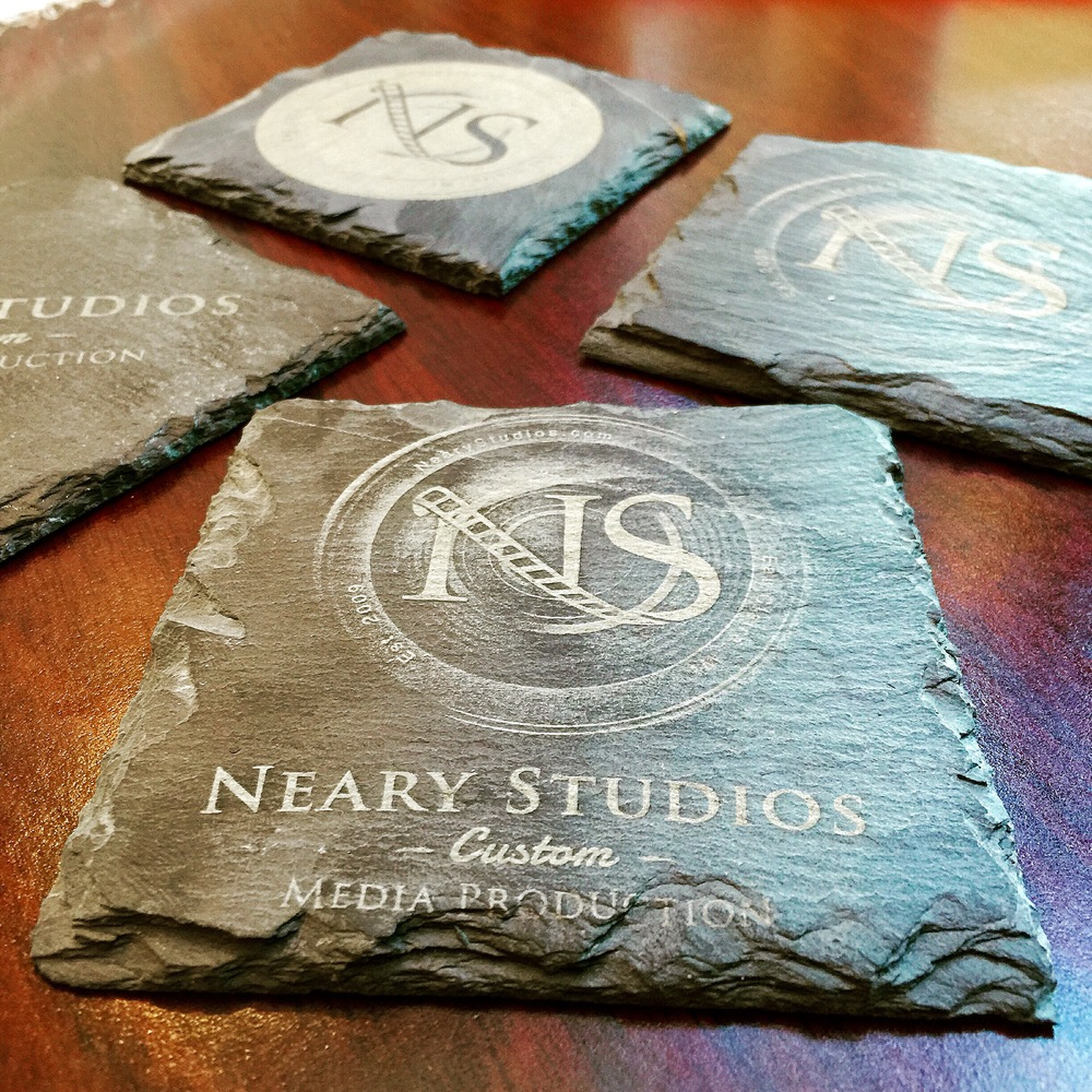 "Laser etched coasters 4""x4"" made of Slate, Wood or Cork. Click for more details."