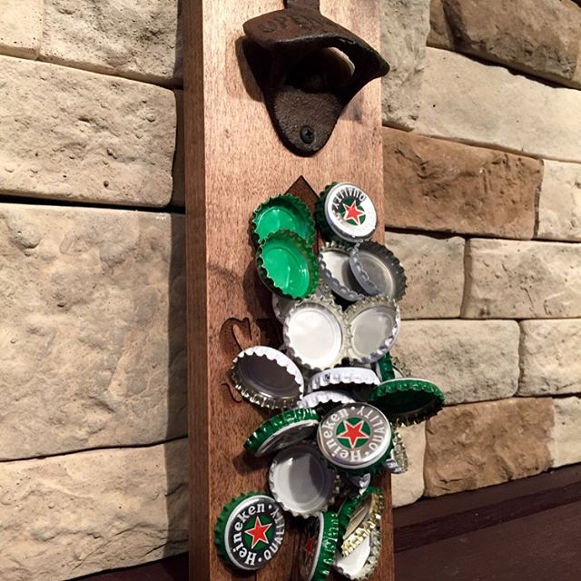 """SNAP the CAP"" Magnetic bottle opener. Swipe left on the picture to see more!!!! Can hold upto 40+ bottle caps. Screw it to a wall or attach it to your fridge. Available to purchase @ our Etsy store. Click on the link in our profile above 👆🏻 #beer #beergift #magneticbottleopener #magnet #brewery #openbeer #bottleopener #bottle #beergift #beerbelly #beer🍻 #beerporn #bottlecap #bottlecaps #beerlover #beerstagram #drink #drinkup #etsy #etsyshop #etsyfinds #etsyseller #etsysellersofinstagram #snapthecap #cap"