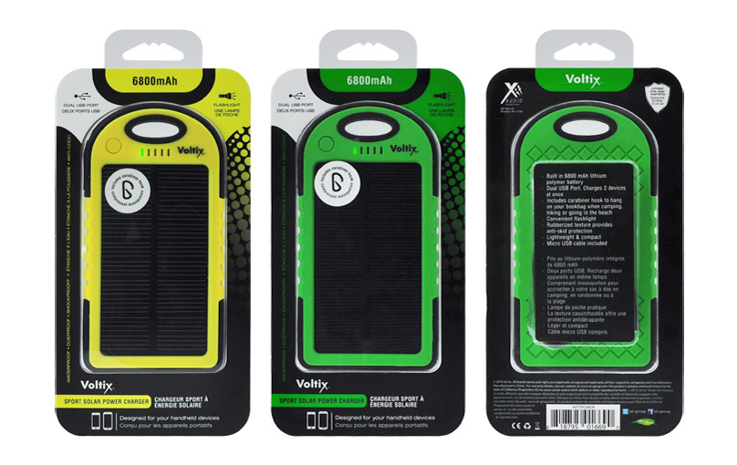 VOLTIX  Skin packs for a line of solar power banks. The fading dot pattern implies energy. Hints of color matching the product are contrasted against black graphic elements making it a cohesive solution for this mobile accessory brand