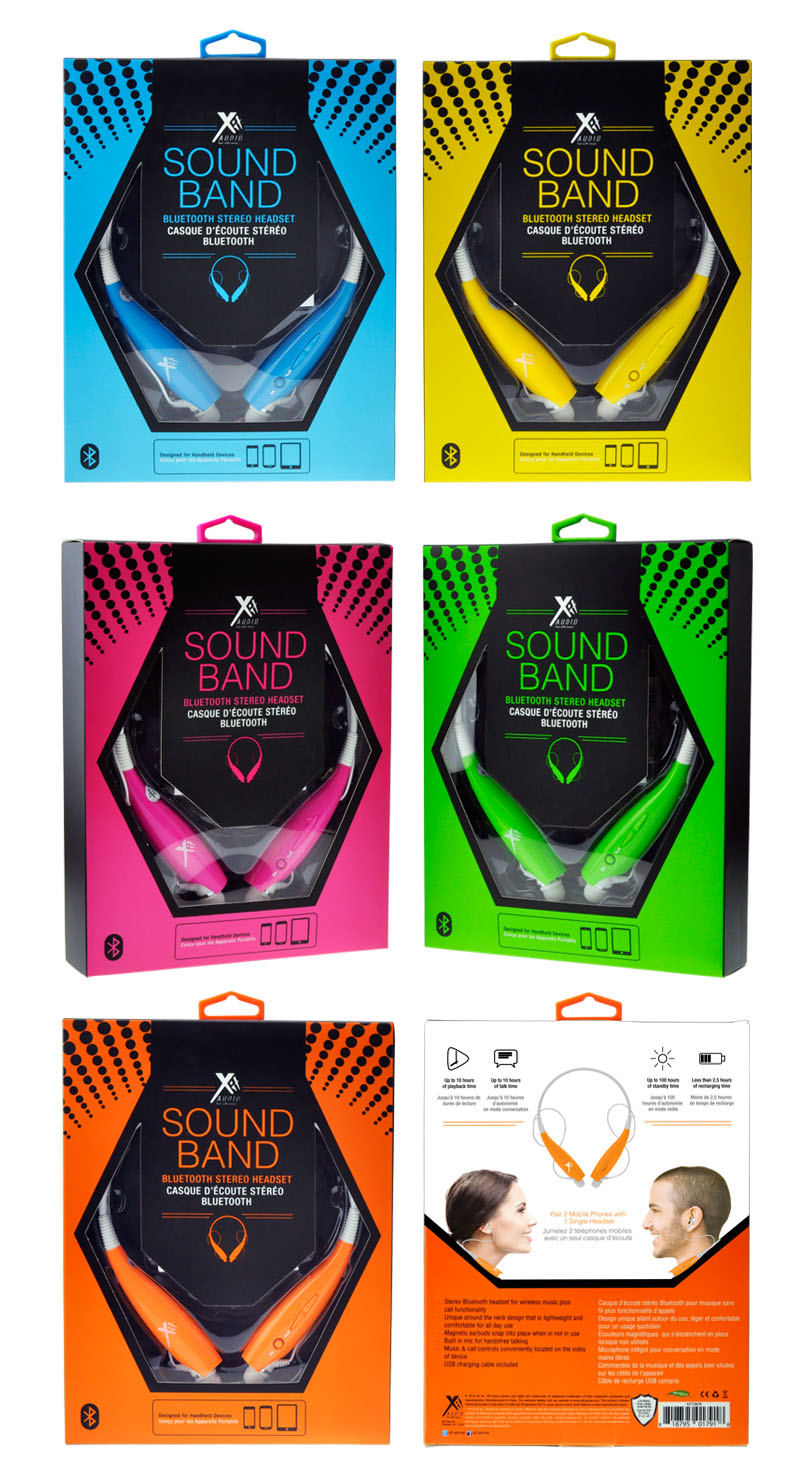 XIT AUDIO  The punchy color of this Bluetooth headset packaging is what makes this solution so eye catching. This is contrasted against black graphic elements such as the dot pattern which implies sound