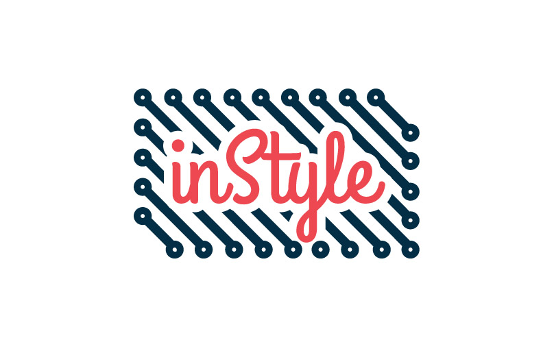 INSTYLE  Identity for a brand that produces fashion friendly tech accessories. It represents a clothing label comprise of circuitry found in electronic devices
