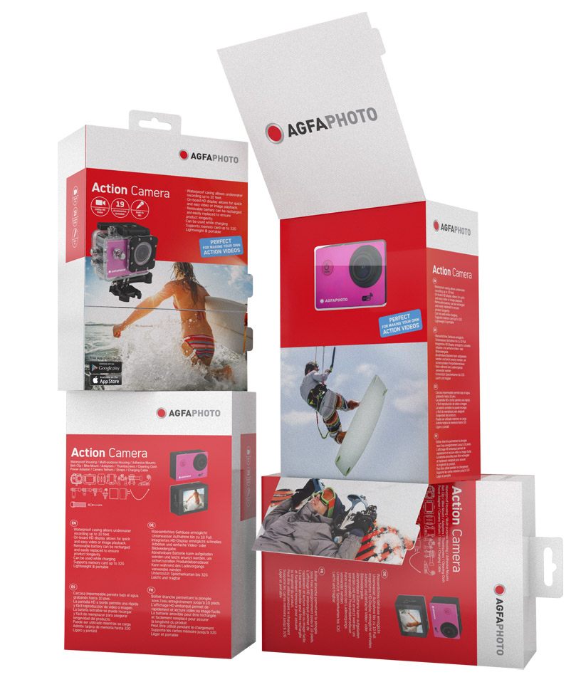 AGFAPHOTO  This action camera packaging had to be designed under the AgfaPhoto brand guidelines. It features two door flaps. When these flaps are open, a window is reveal showcasing the product and also lifestyle images that capture the essence of this brand