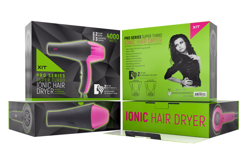XIT  Packaging for an ionic hair dryer. When the top flap is open the viewer is surprise with a splash of green that is feature on the rest of the packaging