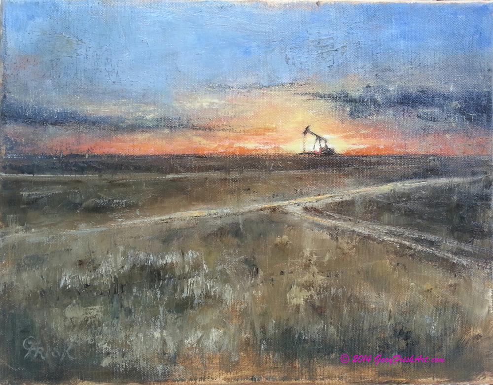 West Texas Pumpjack Winter Sunset