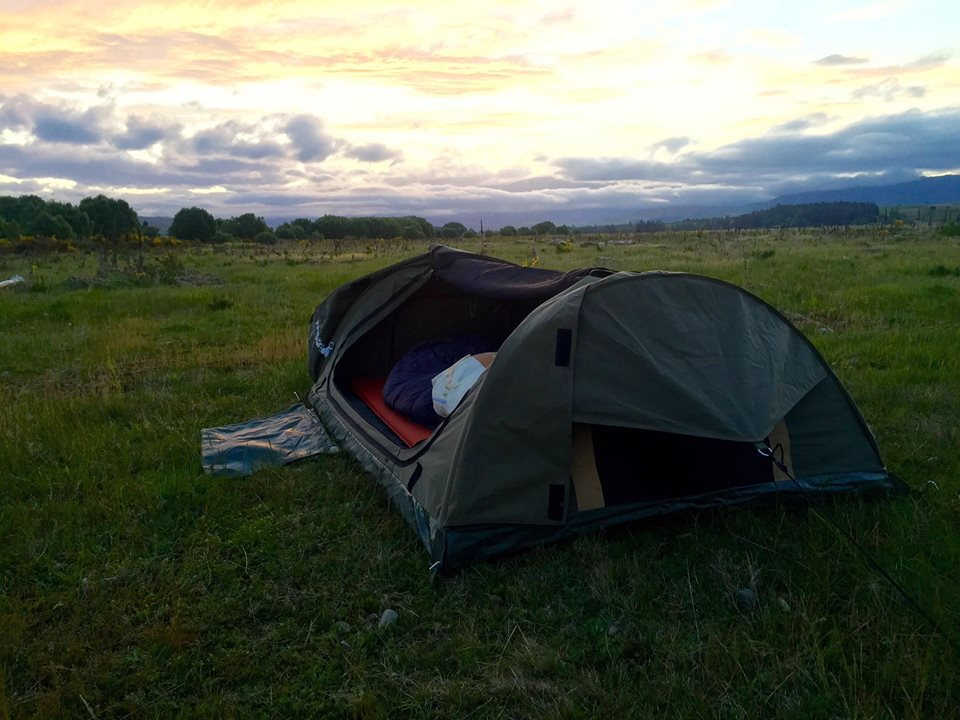 Setting up camp just as the sun goes down on a perfect Southland evening.
