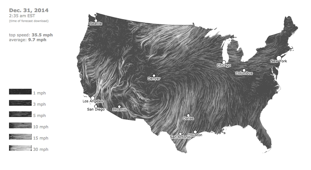 The Wind Map is going crazy this evening