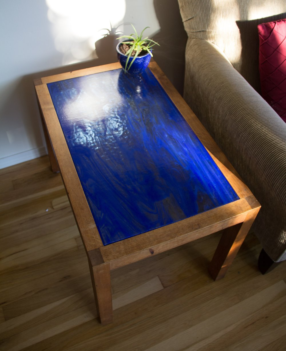 End Table (2013) - Art Glass & Refurbished End Table