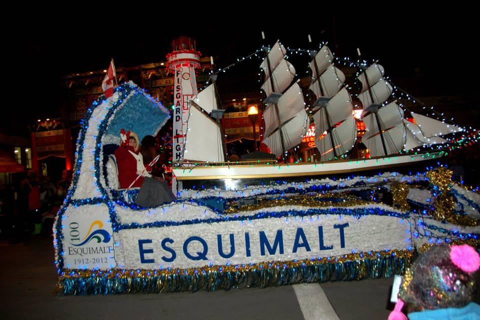 Lynda on the Esquimalt Float in the Santa Claus Parade