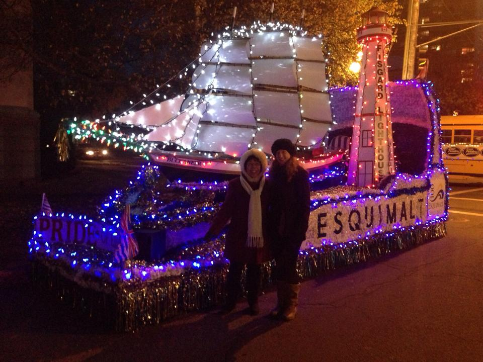 Getting ready to board the Esquimalt Float at Christmas time 2014