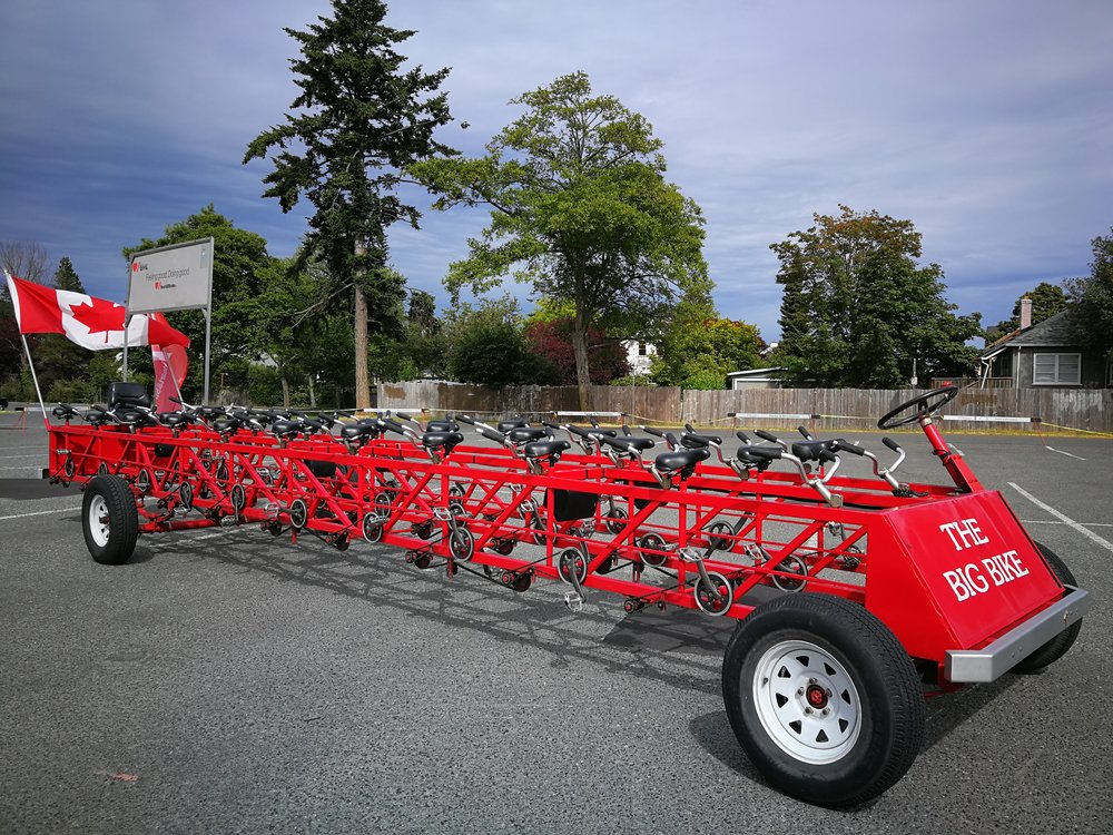 Checking out The Big Bike for the Heart And Stroke Foundation ride in Esquimalt