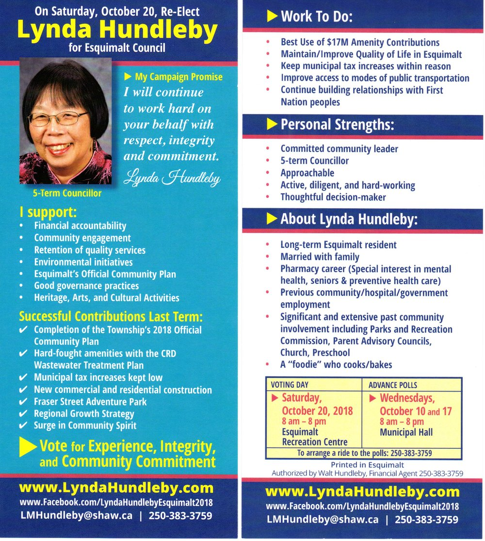 - If you live in a house then Lynda Hundleby's rack card will be delivered soon. If you live in an apartment, condominium or a secondary suite we may not be able to gain access to make a delivery.Here is an advance copy. For a larger, more readable version or to print, save or bookmark, just click anywhere on the image.