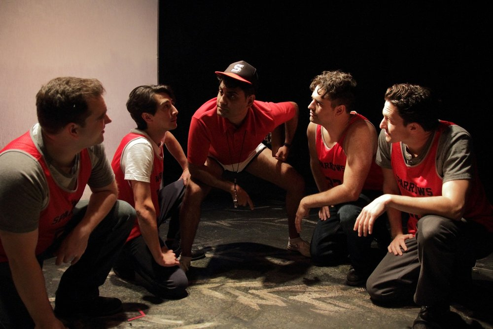 Joel-Gelman-David-Crane-Nardeep-Khurmi-Cyrus-Wilcox-Jeffrey-Nichols-in-Couerage-Theatre-Companys-THE-SPARROW.-Photo-by-John-Klopping..jpeg