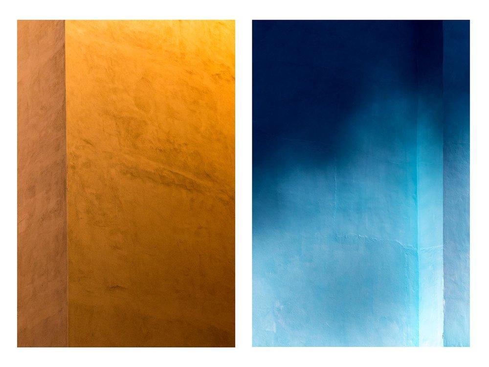 Untitled Diptych (ochre & azure), 2018