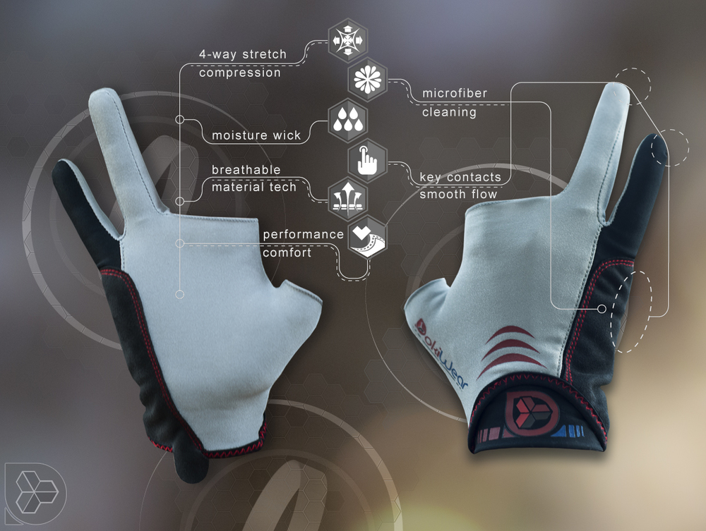 Designed features of the CG Art Glove include microfiber cleaning of drawing surface and sports compression material tech. Note: Images show sample prototype only.