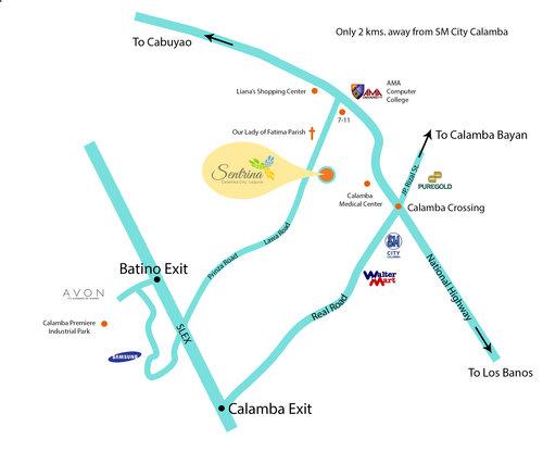 Sentrina Calamba RedOak - Calamba city map