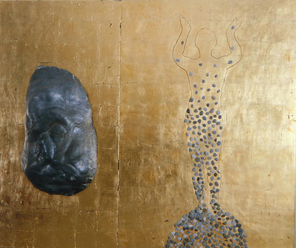 Senza titolo, 1989  Piombo, sassi e foglia d'oro su legno