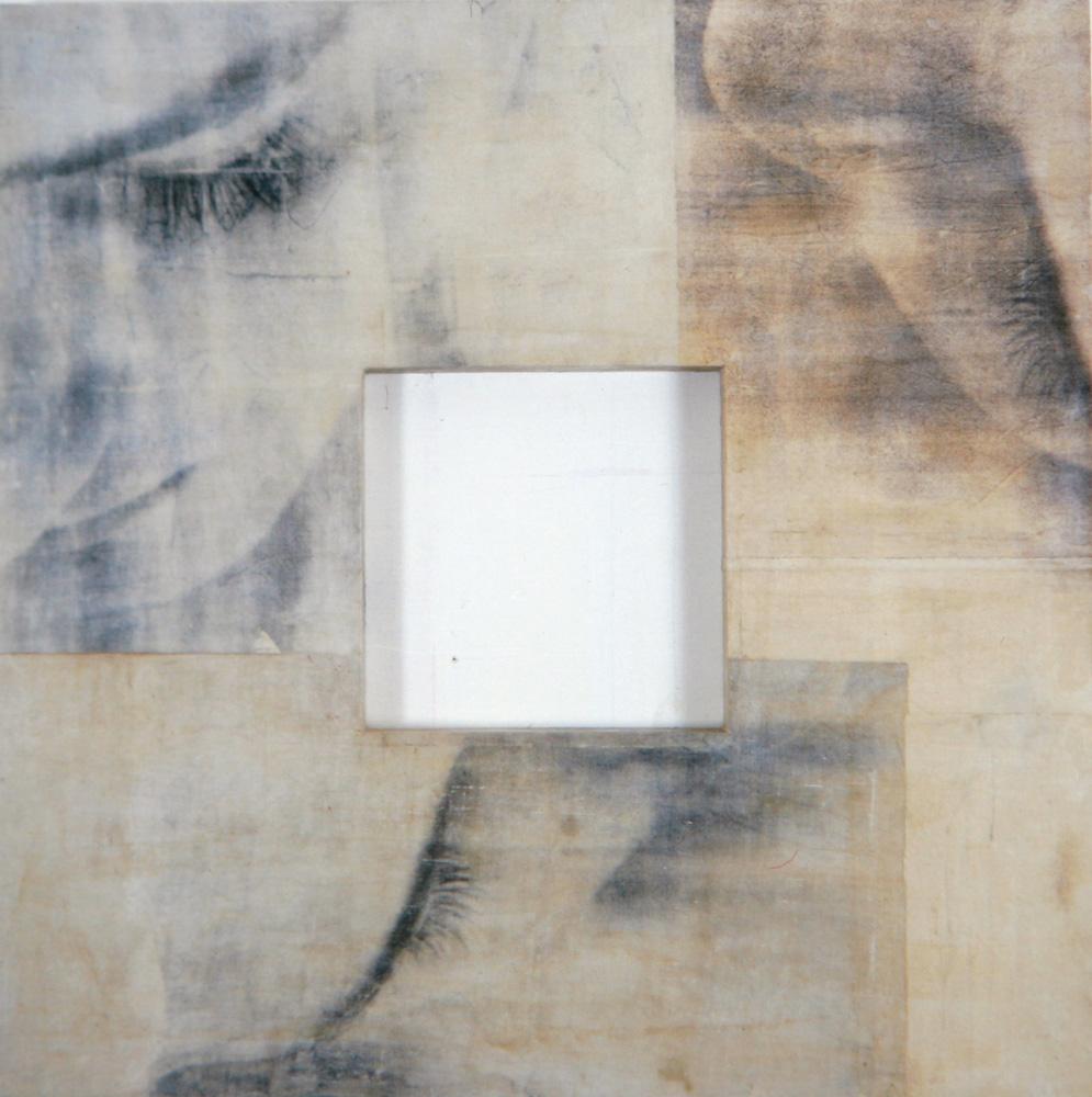 Senza titolo, 1997  Emulsione fotografica, cera e tela su legno  cm. 125 x 125