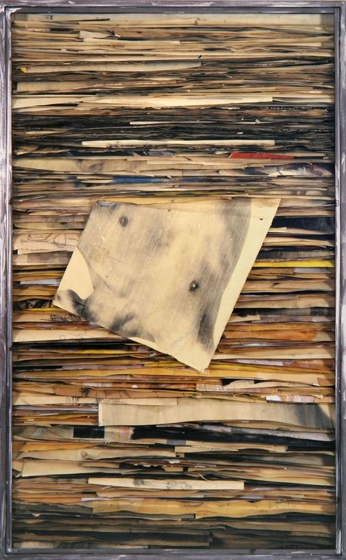 Senza titolo  1992  Tecnica mista ed emulsione fotografica su carta, ferro e vetro  cm 160 x 100