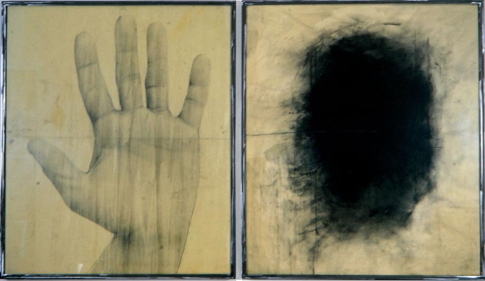 Senza titolo, 1992  Emulsione fotografica e carboncino su carta incollata su legno, ferro, vetro  cm. 120 x 200
