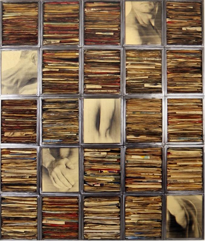 Senza titolo, 1993  Tecnica mista ed emulsione fotografica su carta, ferro e vetro  cm. 300 x 250