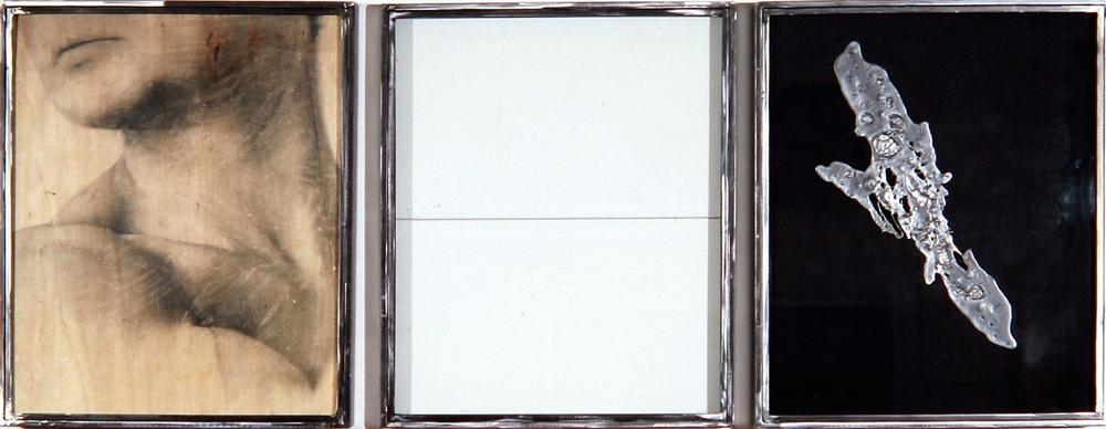 Senza titolo, 1993  Emulsione fotografica e piombo su legno, ferro e vetro  Trittico indivisibile