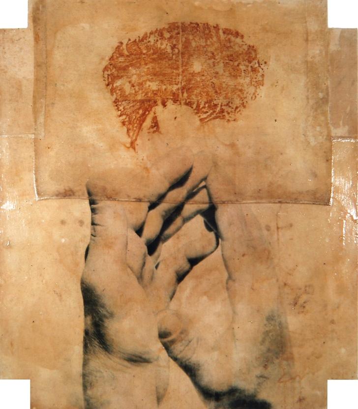 Senza titolo, 1993  Emulsione fotografica, gomma arabica e ruggine su tela incollata su legno  cm. 210 x 180 x 15