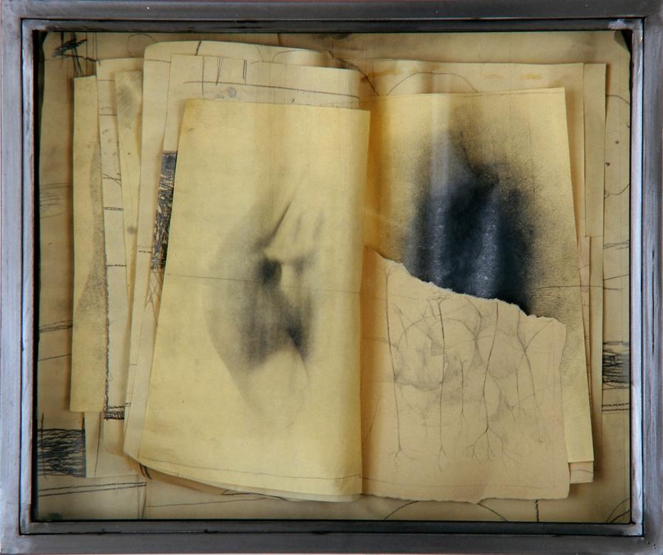 Senza titolo, 1998  Tecnica mista ed emulsione fotografica su carta, ferro, vetro  cm. 52 x 64