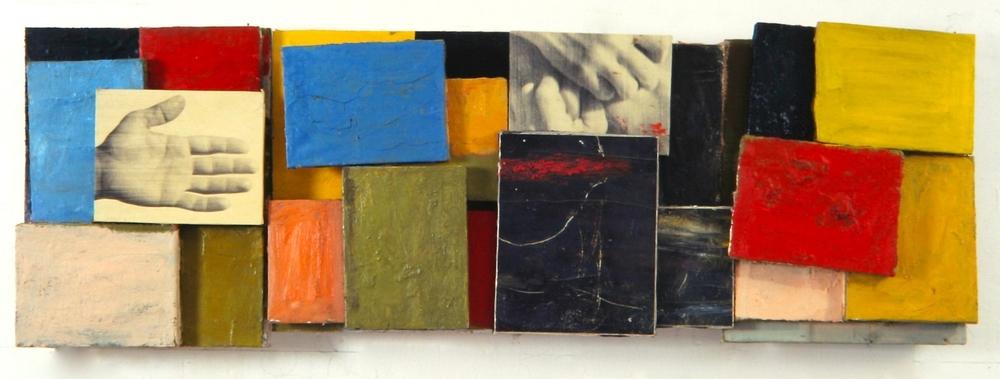 Senza titolo, 1998  Olio su tela e carta emulsionata  cm. 50 x 140