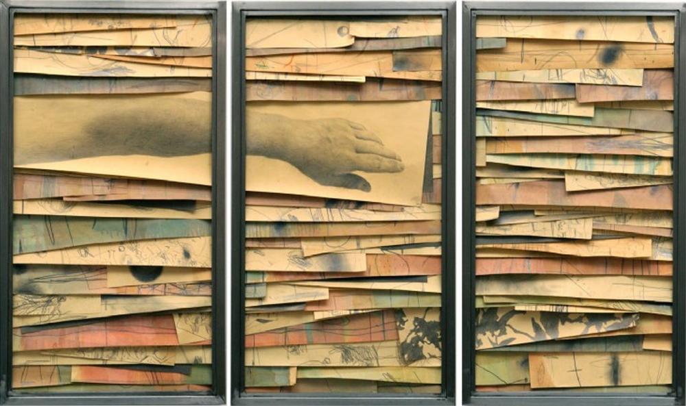 Senza titolo,2008  Grafite e tecnica mista su carta incollata su legno, ferro, vetro  cm 90 x 150 x 7
