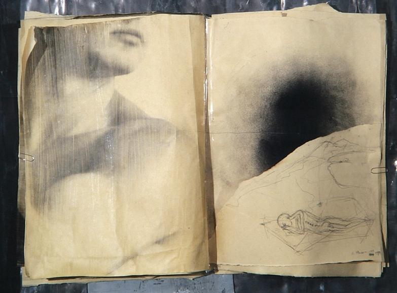 Senza titolo, 1992  Emulsione fotografica e grafite su carta, piombo, ferro, vetro  cm.64 x 74 x 8