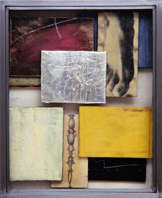 Senza titolo, 2001  Olio, argento, emulsione fotografica su carta e tela, ferro, vetro  cm.64 x 52