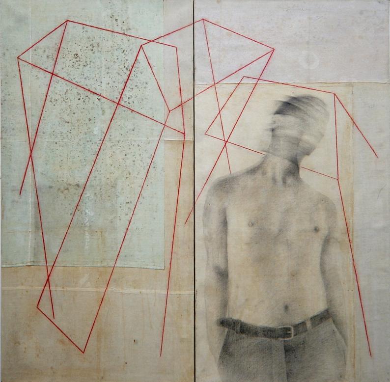 Senza titolo, 2004  grafite e pastello su tela  cm. 173 x 175