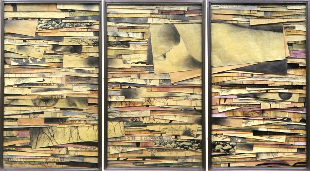 Senza titolo, 2001  Tecnica mista ed emulsione fotografica su carta, ferro, vetro  Trittico,cm.150 x 270