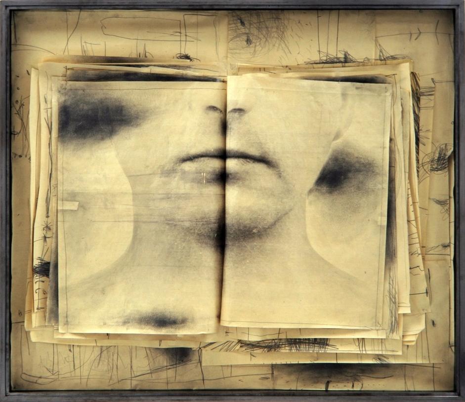 Senza titolo, 1999  Tecnica mista ed emulsione fotografica su carta, ferro, vetro  cm.124 x 144