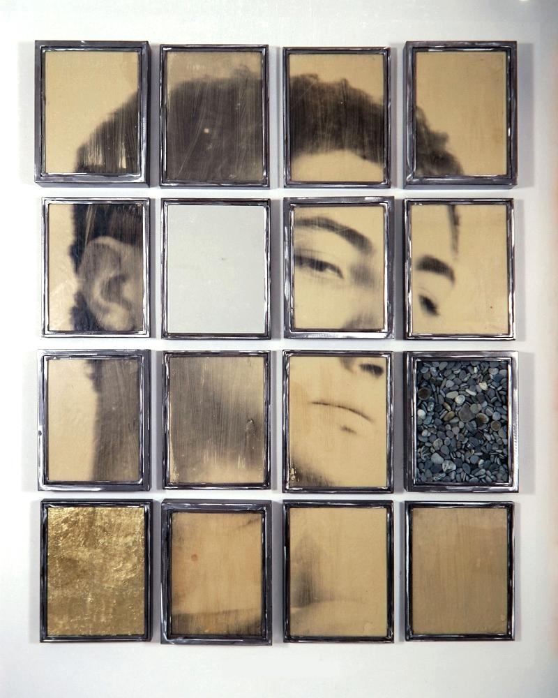 Senza titolo, 1990  Emulsione fotografica su carta, specchio,sassi, ferro,foglia d'oro, vetro  cm 180 x 145