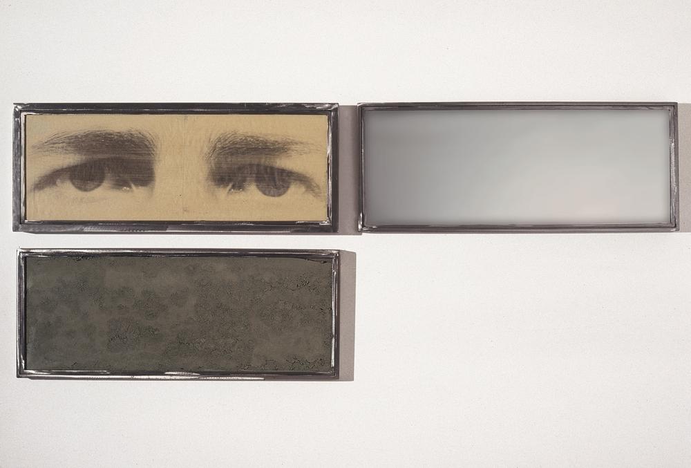 Senza titolo, 1990  Emulsione fotografica su carta,specchio, terra, ferro e vetro  Trittico cm 34 x 84 (X3)