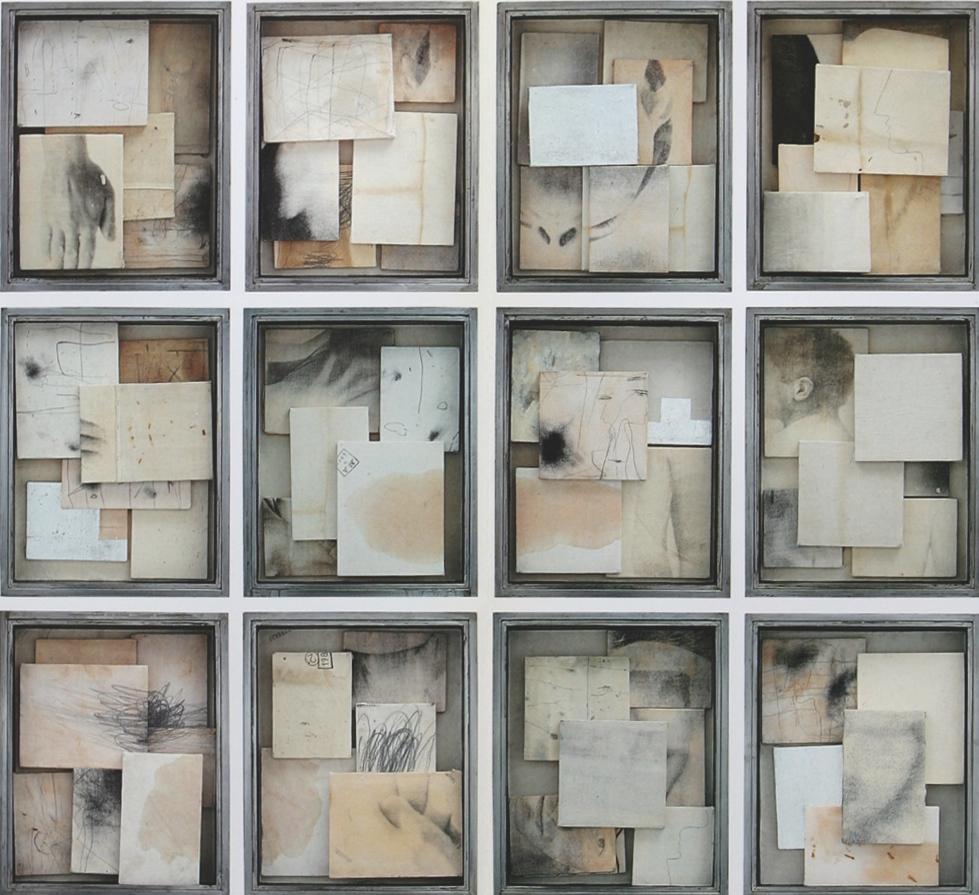 Senza titolo, 1998  Tecnica mista su tela, ferro, vetro  Polittico 12 elementi, cm. 200 x 220
