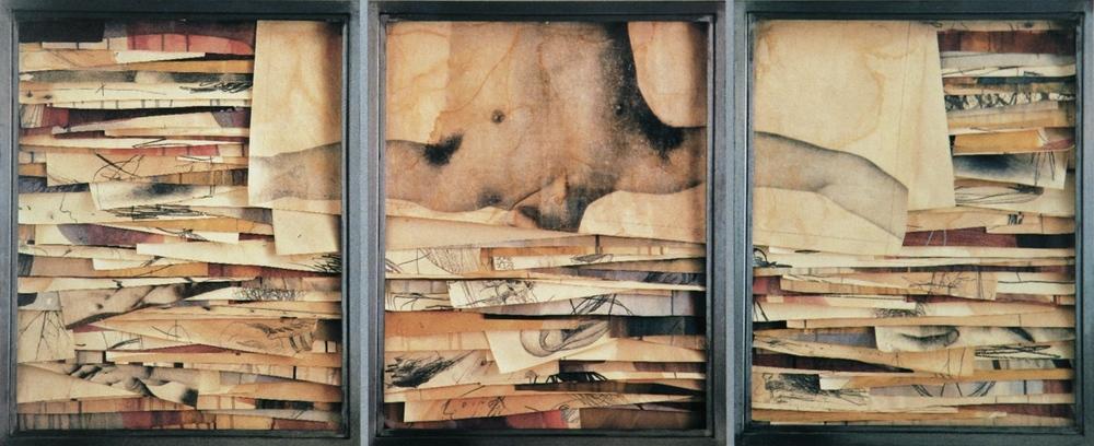 Senza titolo, 2000  Tecnica mista ed emulsione fotografica su carta, ferro, vetro  Trittico, cm. 64 x 156
