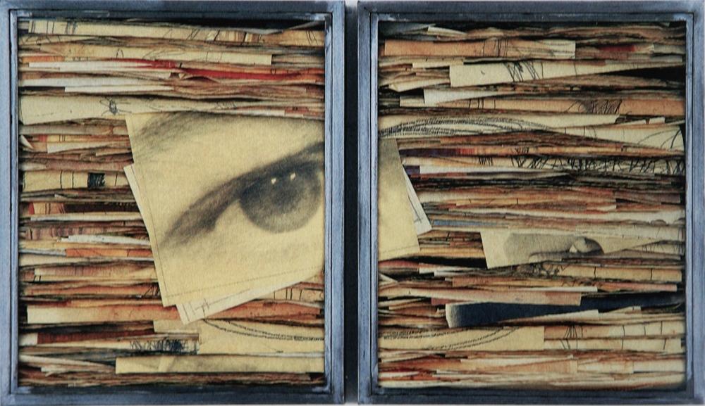 Senza titolo, 1998  Tecnica mista ed emulsione fotografica su carta, ferro, vetro  Dittico cm.64 x 104