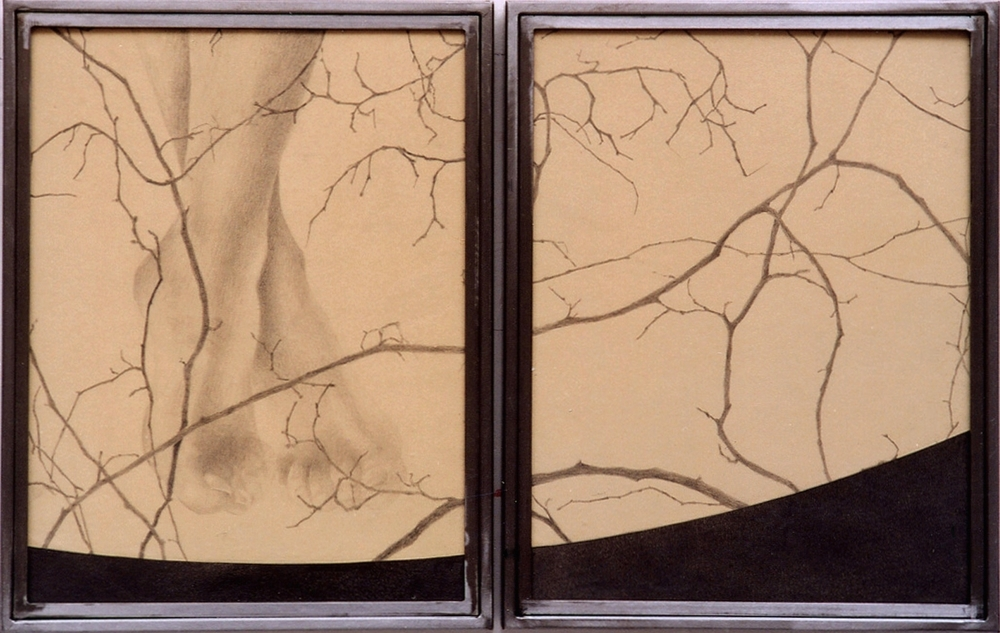 Senza titolo, 2004  Grafite su carta incollata su legno, ferro, vetro  cm 45x70
