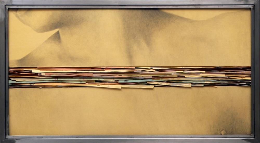 Senza titolo, 2008  Grafite e tecnica mista su carta incollata su legno, ferro, vetro  cm 50 x 90 x 7